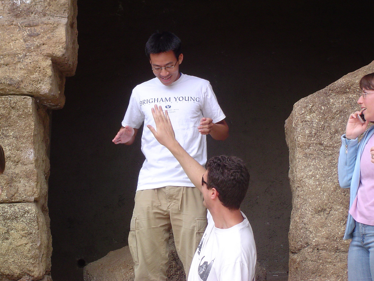 Brian Sterling rubs Ben Yu's belly for good luck