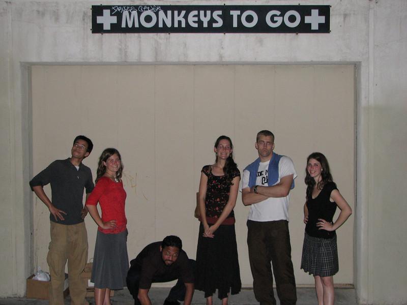 2008 04 28 Mon - Monkeys to go 3 - Ben Yu, Ayelet Hendren, Isai Garcia, Laura Hannesson, Caleb Campbell, & Roni Hendren