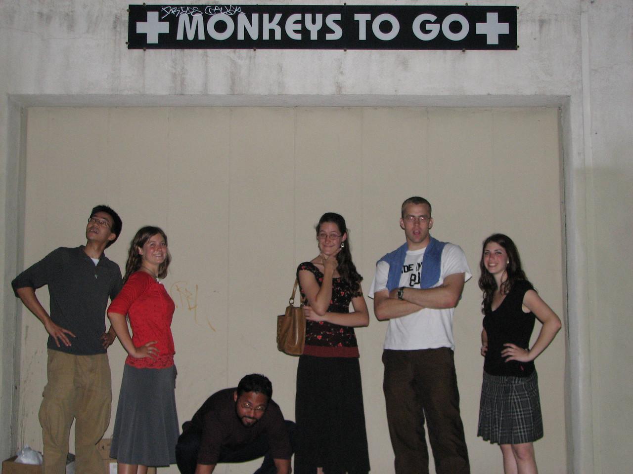 2008 04 28 Mon - Monkeys to go 1 - Ben Yu, Ayelet Hendren, Isai Garcia, Laura Hannesson, Caleb Campbell, & Roni Hendren