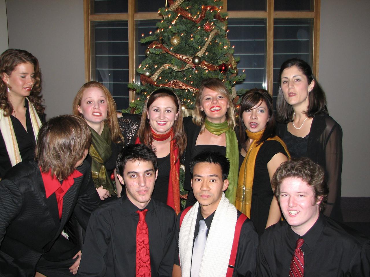 2006 12 09 Sat - Biola Vocal Jazz Ensemble 4 candid - Laura Coghlan, Heather Onken, Heidi Bargen, Charissa Noble, Jessi Vasquez, Shawna Stewart, Dan Rigall, Trevor Gomes, Ben Yu, & Jordan Johnson