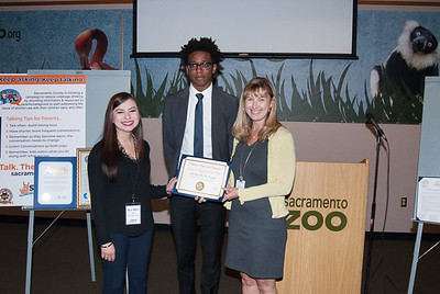 Keane Chukwuneta, Office of Congressman Ami Bera, District 7, with Jessica Fielding, Coalition for a Safe & Healthy Arden Arcade, and Joelle Orrock, Sacramento County Coalition for Youth.
