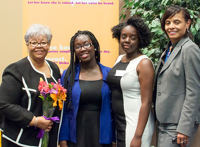 Margaret G. Copemann, BS, CHES, CHCC Public Health Advisor/CYSHCN Coordinator, District of Columbia Department of Health, Community Health Administration, and Jayne Withers congratulate winners of Pamela A. Johnson Scholarship