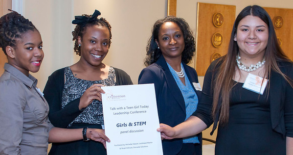 Michelle Helaire of Lockheed Martin and Noah Kithcart of Pariveda Solutions inspire girls to consider STEM careers