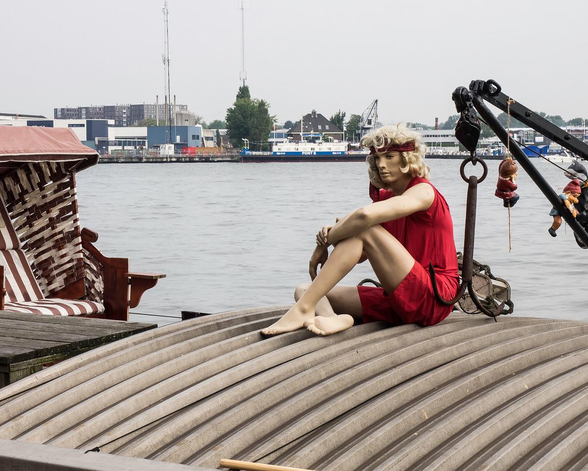 Manikins on fishing boat
