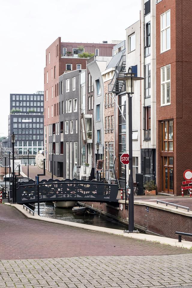 Side street with unique bridge