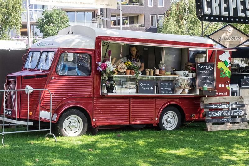 A remodeled Citroen van turned into an Italian Delicatessen