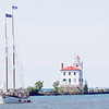 Jonathan Tressler - The News-Herald<br /> Appledore Tall Ships' Appledore IV, a schooner hailing from Bay City, Michigan, makes her way back to the harbor July 9 during Harbor Fest at Tall Ships Fairport Harbor 2017, during which guests could book 90-minute trips on her and a replica of another noteworthy Great Lakes schooner - Madeline - originally built in Grand River in 1845.