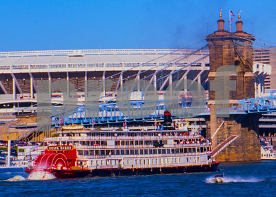 """Tall Stacks"" Paddle Wheel Steam Ship event on the Ohio River 1995."