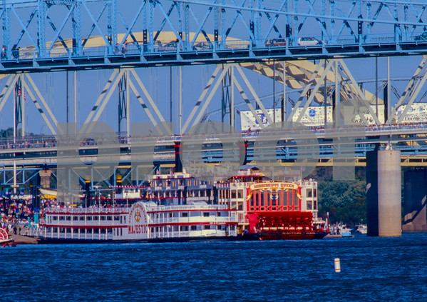 "The Gateway Clipper Fleets ""Majestic"" vs the ""Mississippi Queen"".""Tall Stacks"" Paddle Wheel Steam Ship event on the Ohio River 1995."