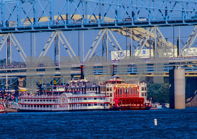 """The Gateway Clipper Fleets """"Majestic"""" vs the """"Mississippi Queen"""".""""Tall Stacks"""" Paddle Wheel Steam Ship event on the Ohio River 1995."""