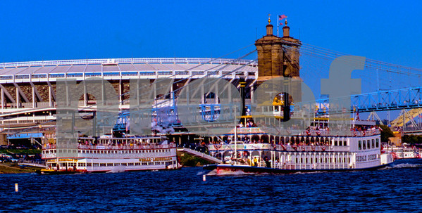 """""""Tall Stacks"""" Paddle Wheel Steam Ship event on the Ohio River 1995."""