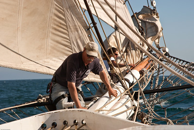 "Crew of the tall ship ""Californian"" performing activities during battle re-enactment sail"