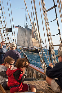 "Tall ship ""Californian"" preparing to fire guns during battle re-enactment sail with ""Spirit of Dana Point"""