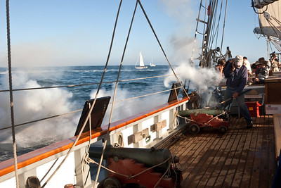 "Tall ship ""Californian"" fires guns during battle re-enactment"
