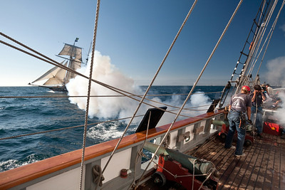 "Tall ship ""Californian"" fires guns during battle re-enactment with ""Lynx"""