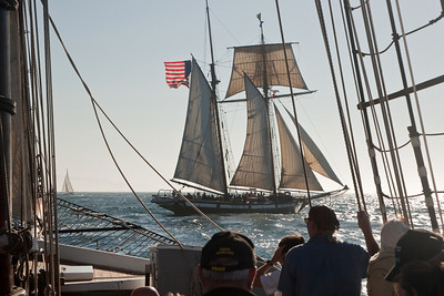 "Tall ship ""Californian"" engaged in mock sea battle"