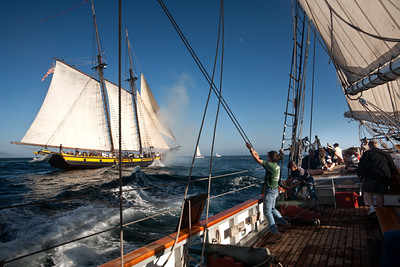 "Tall ship ""Californian"" and ""Spirit of Dana Point"" during battle re-enactment sail."