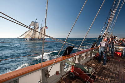 "Tall ship ""Californian"" preparing to fire guns during battle re-enactment with ""Lynx"""
