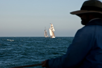 Lynx captain Craig Chipman observes the Californian and the Irving Johnson
