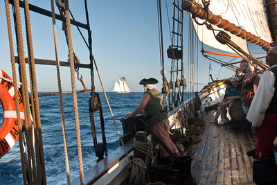 Spirit of Dana Point battle re-enactment sail, with Californian