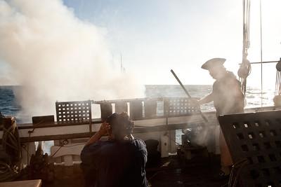 Master gunner Gary Harper fires guns during battle re-enactment