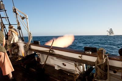 Spirit of Dana Point battle re-enactment sail, firing on Irving Johnson