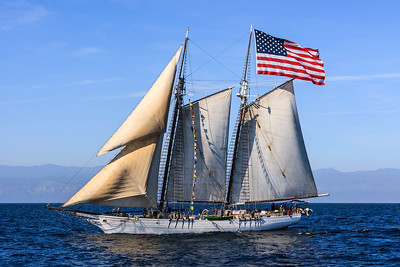"Tallship ""Bill of Rights"" sailing in the Santa Barbara Channel"