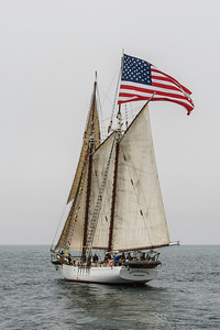 "Tallship ""Bill of Rights"" sailing in the Santa Barbara Channel on a foggy day"