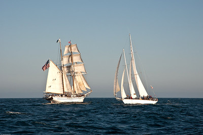 Tall ships Irving Johnson and Curlew engage in battle re-enactment