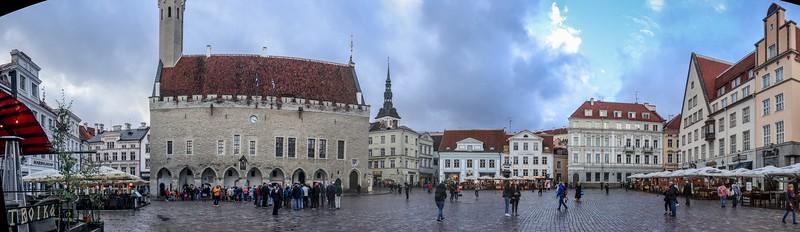 Pano shot of Town hall Square, Tallinn.