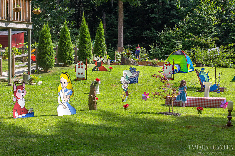 birthday party picture of a backyard with full size Alice in Wonderland themed cutouts