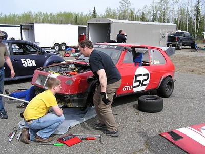 These guys thrashed and thrashed but I don't know if they ever got out on the track for a Saturday race.