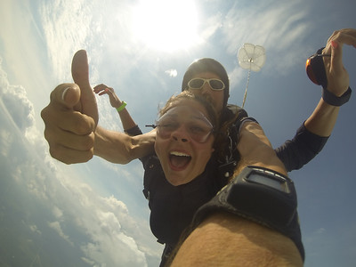 Cathryn Roberts tandem skydiving