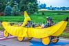 RAGBRAI 2014 - Day 1 - banana recumbent in Rock Valley, Iowa, at start of ride - C1-0002 - 72 ppi