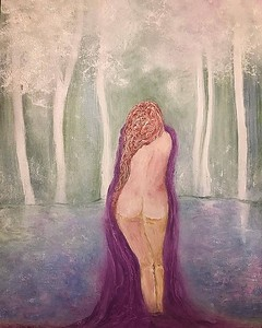 girl bathing with purple