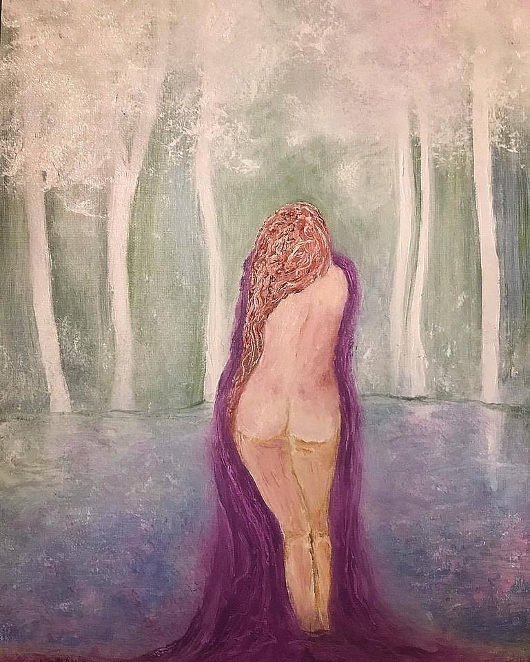girl bathing with purple