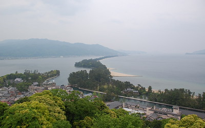 Amanohashidate, a 3.6 km long sand bar, spans across Miyazu Bay on the Tango Peninsula.