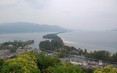 Amanohashidate, a 3.6 km long sand bar, spans across Miyazu Bay on the Tango Peninsula.