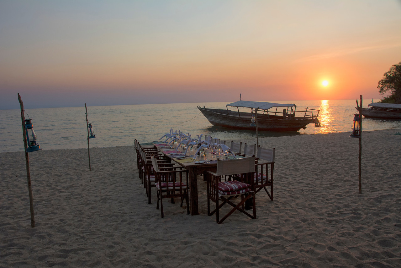 Mahale sunset with table setting