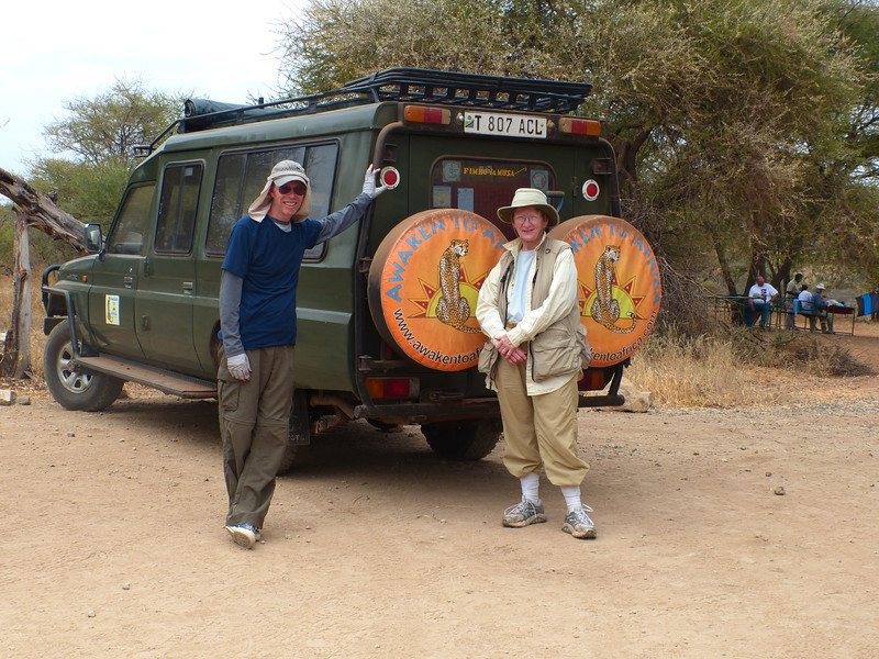 Stopping for lunch near exit from Tarangire N. P., Phil and Becky
