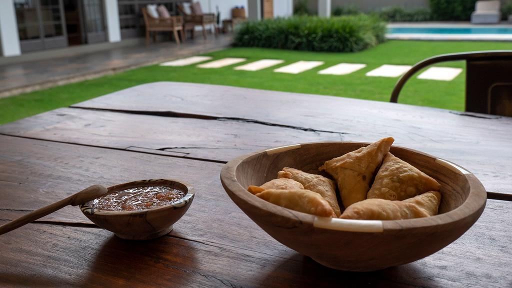 Vegetarian samosas at Lemala Villas in Arusha - Luxury accommodation in Tanzania