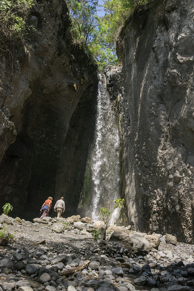 Guide and client at the Maio Falls of the Jekukumia River vertical, Arusha NP, Tanzania