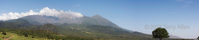 Mount Meru panoramic banner, Arusha NP, Tanzania