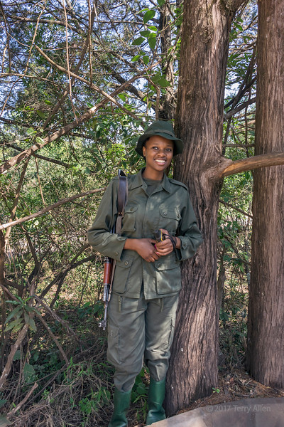 Woman ranger 'Happy Julius' at the ranger station, Arusha National Park, Tanzania