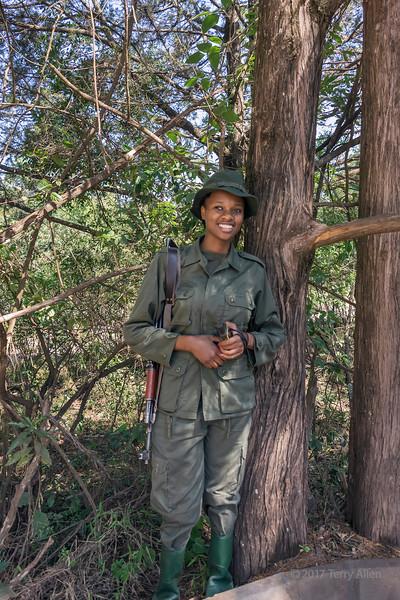 Woman ranger 'Happy Julius' at the ranger station, Arusha National Park, Tanzania