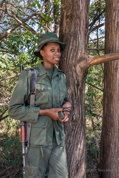 Woman park ranger with rifle, Arusha National Park, Tanzania
