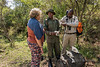 Guide and tourist examining antelope (query) skulls with a ranger , Arusha NP, Tanzania