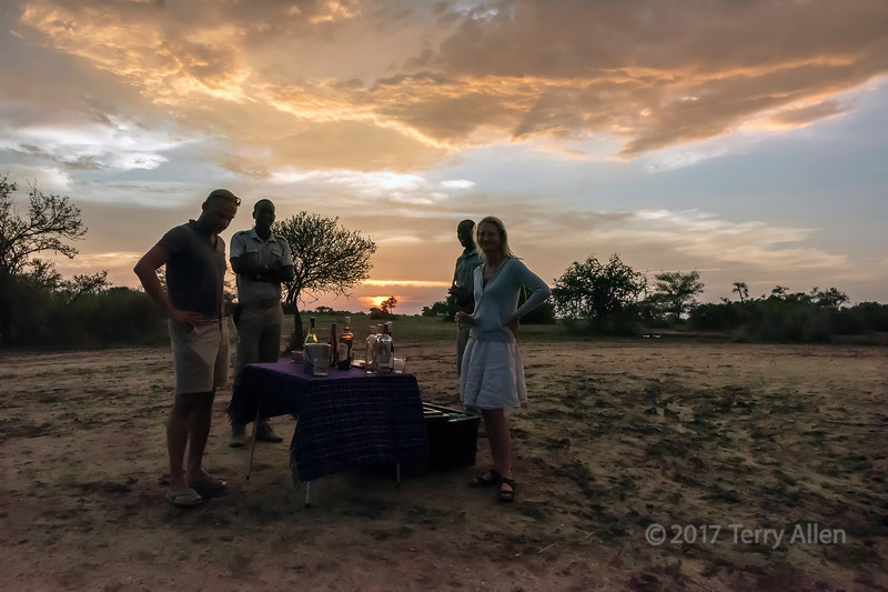 Sundowners by the Hippo Pool, Grumeti Serengeti Tented Camp, Tanzania