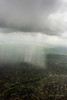 Aerial shot of a rainstorm over the African bush, Serengeti, Tanzania