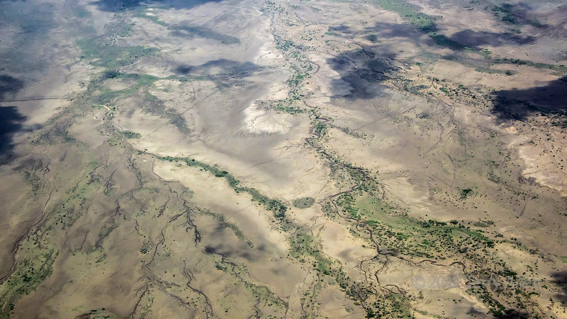 River flows make fractal patterns, Tanzania veld, East Africa